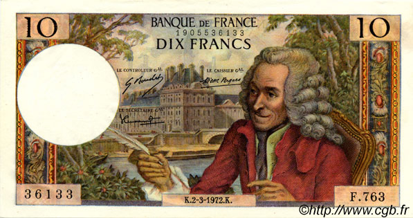 10 Francs VOLTAIRE FRANCE  1972 F.62.55 pr.NEUF