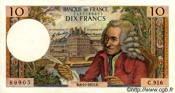 10 Francs VOLTAIRE FRANCE  1973 F.62.64 SUP+