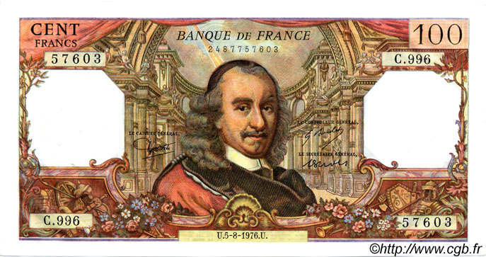 100 Francs CORNEILLE FRANCE  1976 F.65.54 SUP