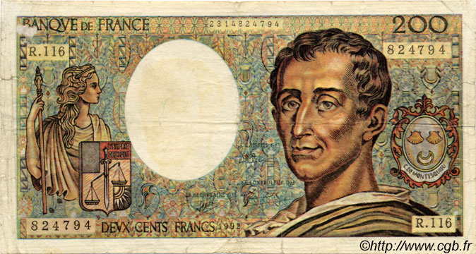 200 Francs MONTESQUIEU FAUX FRANCE  1992 F.70.-- B+