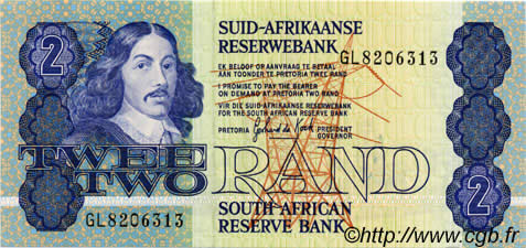 1983-1990 South Africa 2 Rand P-118d UNC ND