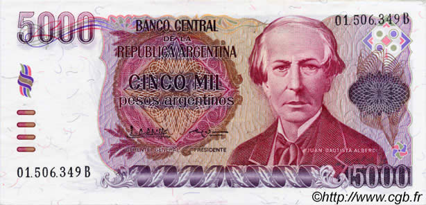 5000 pesos argentinos argentina 1985 b38 0081 banknotes for Banco 0081