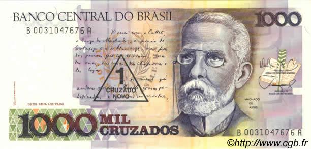 1 Cruzado Novo sur 1000 Cruzados BRAZIL 1989 P.216b b38_0177 Banknotes