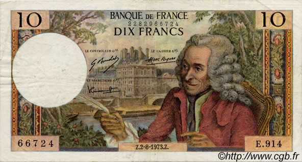 10 Francs VOLTAIRE FRANCE  1963 F.62 TB