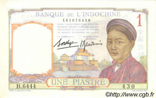 1 Piastre FRENCH INDOCHINA  1936 P.054b AU