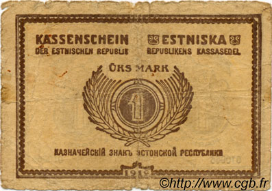 1 Mark ESTONIE  1919 P.43a