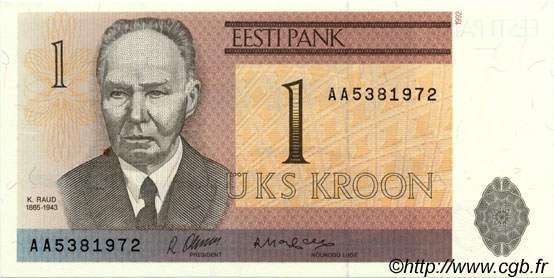 1 Kroon ESTONIE  1992 P.69a NEUF