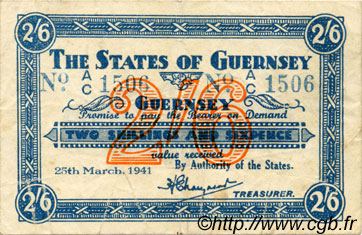 2 Shillings 6 Pence GUERNESEY  1941 P.18 TTB