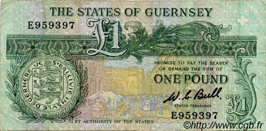 1 Pound GUERNESEY  1980 P.48a TB