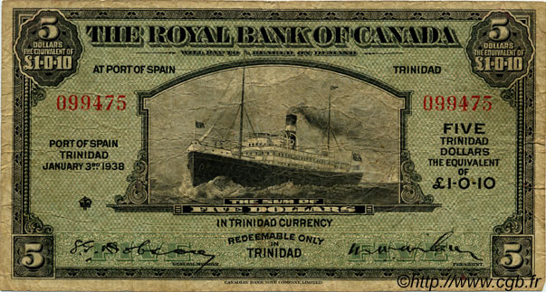 5 Dollars TRINIDAD et TOBAGO  1938 PS.161 TB