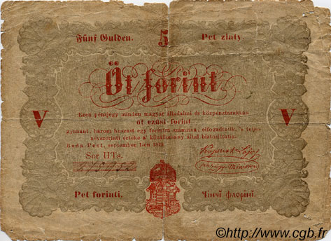 5 Forint HONGRIE  1848 PS.116a AB