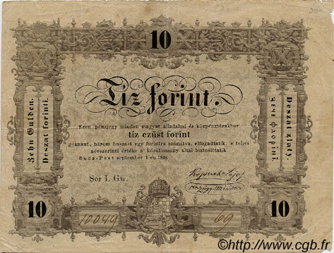 10 Forint HONGRIE  1848 PS.117 TB+