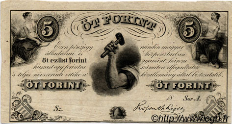 5 Forint HONGRIE  1852 P.S143r1 SUP+
