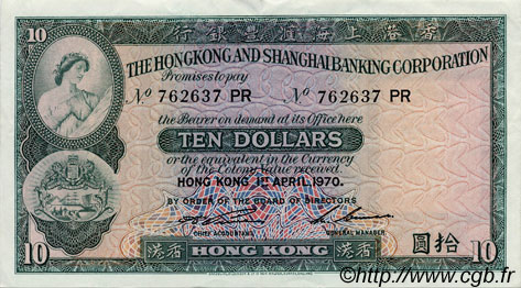 10 Dollars HONG KONG  1970 P.182g SUP