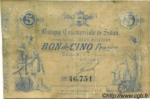 5 Francs FRANCE régionalisme et divers SEDAN 1871 JER.08.14C B