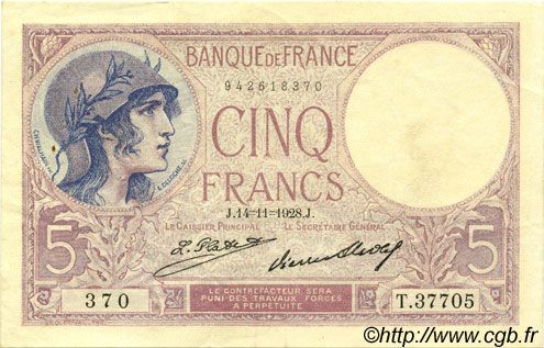 5 Francs VIOLET FRANCE  1928 F.03.12 pr.SUP