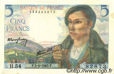 5 Francs BERGER FRANCE  1943 F.05.03 SPL+