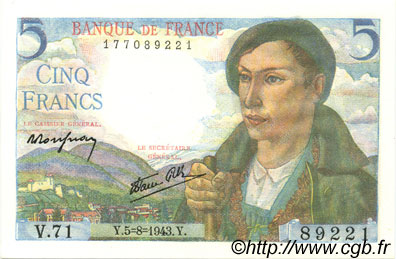 5 Francs BERGER FRANCE  1943 F.05.03 NEUF