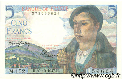 5 Francs BERGER FRANCE  1947 F.05.07 SPL