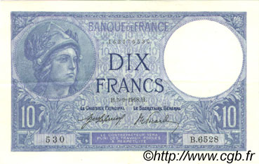 10 Francs MINERVE FRANCE  1918 F.06.03 SUP