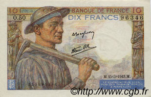 10 Francs MINEUR FRANCE  1943 F.08.08 pr.SUP