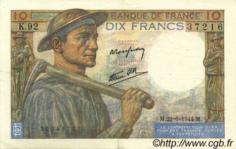 10 Francs MINEUR FRANCE  1944 F.08.12 SUP