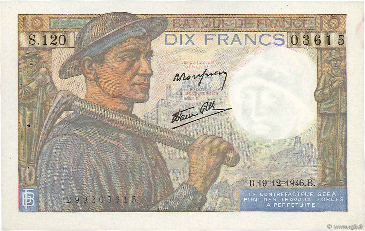10 Francs MINEUR FRANCE  1946 F.08.16 SPL