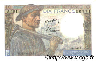 10 Francs MINEUR  FRANCE  1949 F.08.21 XF