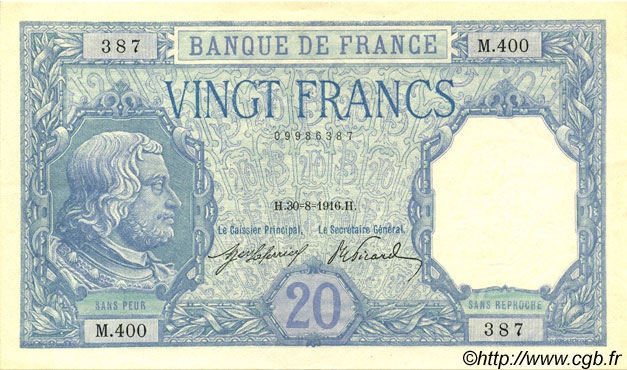 20 Francs BAYARD FRANCE  1916 F.11.01 SUP à SPL