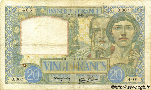 20 Francs SCIENCE ET TRAVAIL FRANCE  1940 F.12.02 B+