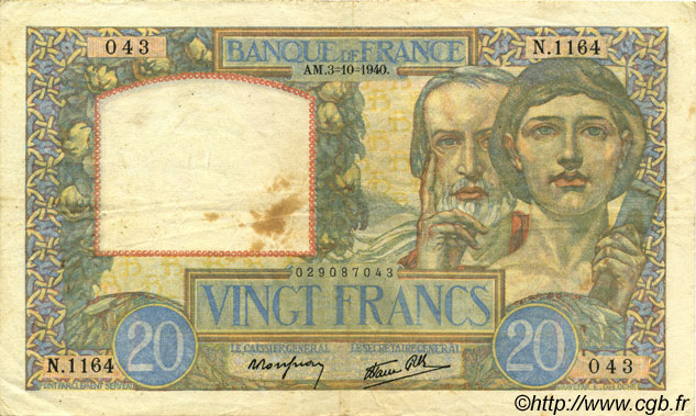 20 Francs SCIENCE ET TRAVAIL FRANCE  1940 F.12.08 TTB