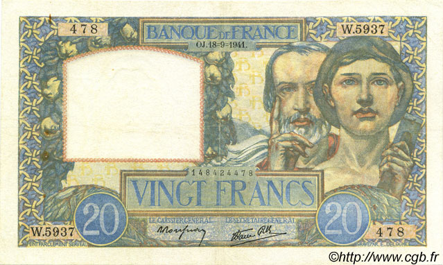 20 Francs SCIENCE ET TRAVAIL FRANCE  1941 F.12.18