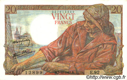 20 Francs PÊCHEUR FRANCE  1943 F.13.07 SUP