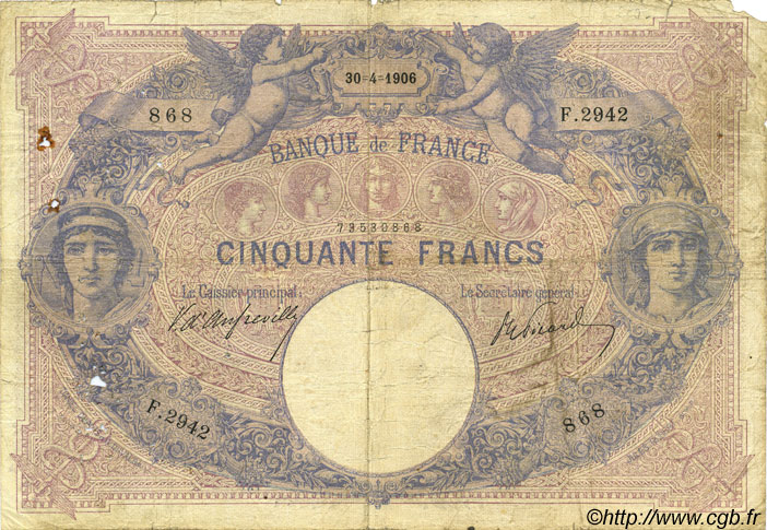 50 Francs BLEU ET ROSE FRANCE  1906 F.14.18 B