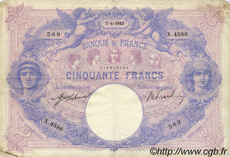 50 Francs BLEU ET ROSE FRANCE  1913 F.14.26 TB à TTB