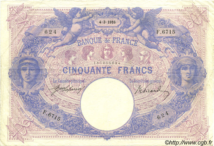 50 Francs BLEU ET ROSE FRANCE  1916 F.14.29 TTB+