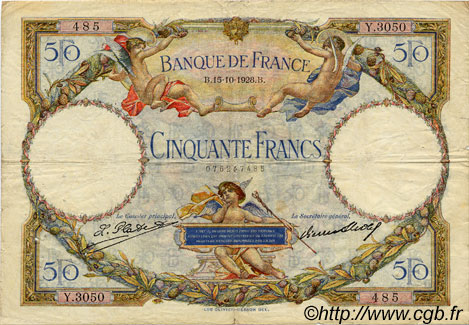 50 Francs LUC OLIVIER MERSON FRANCE  1928 F.15.02 TB+