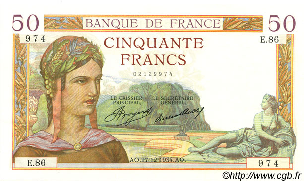 50 Francs CÉRÈS FRANCE  1934 F.17.02 SUP+