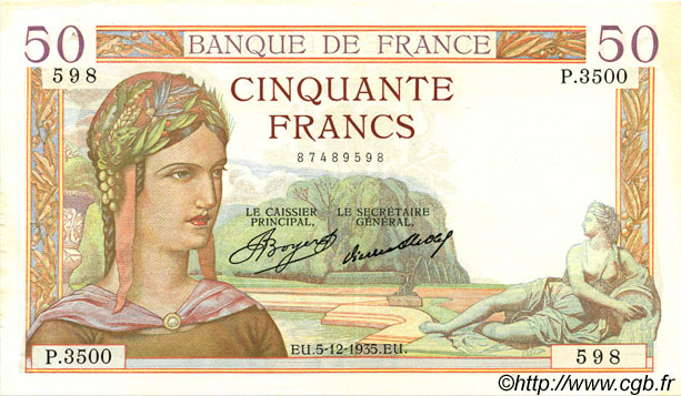 50 Francs CÉRÈS FRANCE  1935 F.17.20 pr.SUP