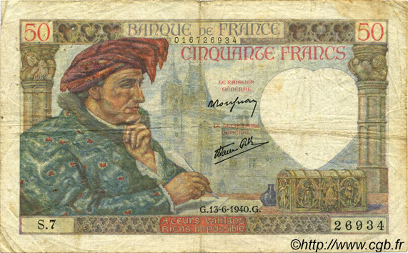 50 Francs JACQUES CŒUR  FRANCE  1940 F.19.01 F