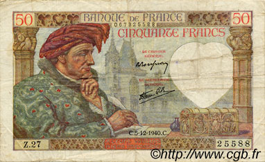 50 Francs JACQUES CŒUR FRANCE  1940 F.19.04 TB+