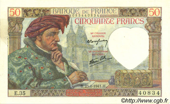 50 Francs JACQUES CŒUR FRANCE  1941 F.19.05 pr.SPL