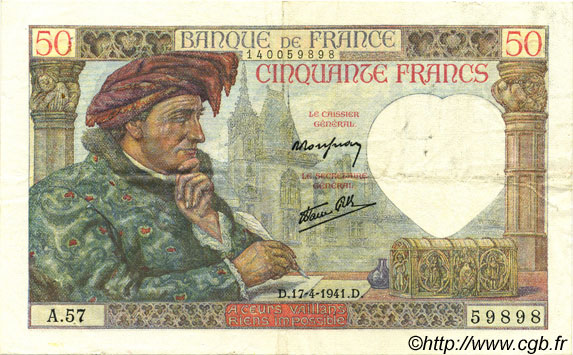50 Francs JACQUES CŒUR FRANCE  1941 F.19.08 TTB+