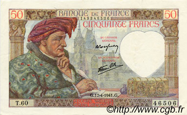 50 Francs JACQUES CŒUR FRANCE  1941 F.19.08 SUP