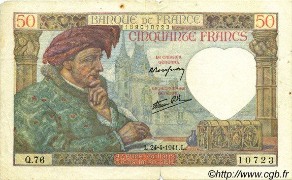 50 Francs JACQUES CŒUR FRANCE  1941 F.19.09 TB