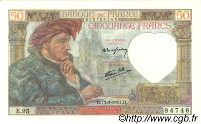 50 Francs JACQUES CŒUR FRANCE  1941 F.19.12 SPL+