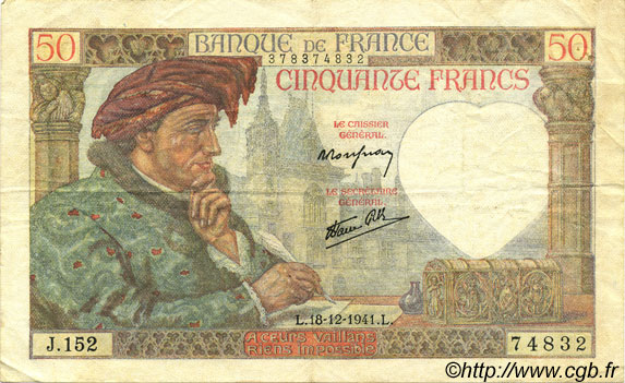 50 Francs JACQUES CŒUR FRANCE  1941 F.19.17 TTB