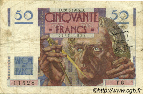 50 Francs LE VERRIER FRANCE  1946 F.20.02 pr.TTB