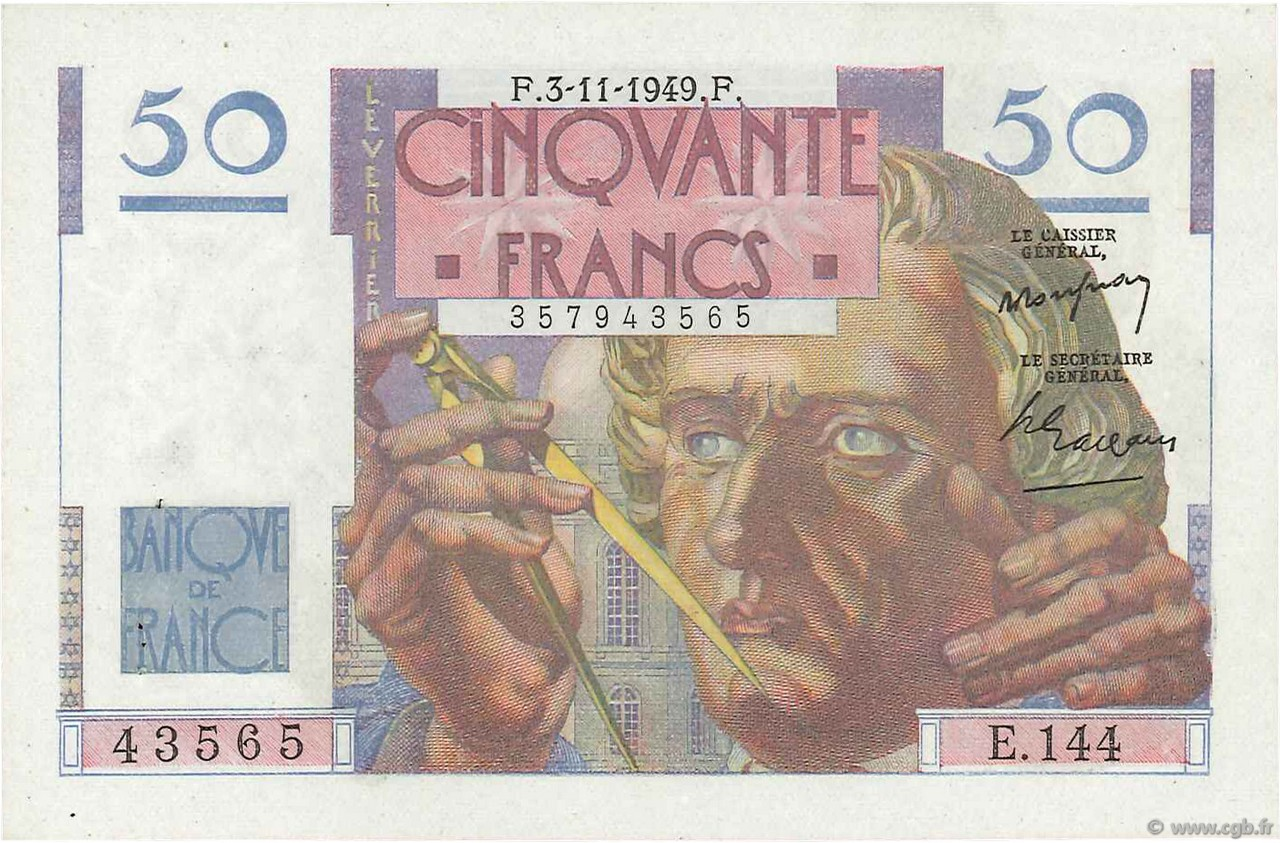 50 Francs LE VERRIER FRANCE  1949 F.20.13 SUP
