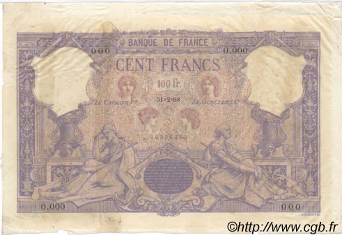 100 Francs BLEU ET ROSE FRANCE  1898 F.21.00e1 TTB+